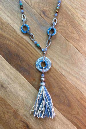 The Mykonos Tassel Necklace Blues