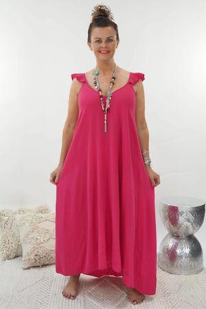 The Negril Cap Frill Sundress Hot Pink