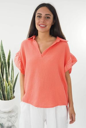 The Negril Cap Sleeve Shirt Strawberry