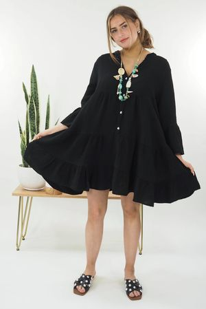 The Negril Smock Dress Black