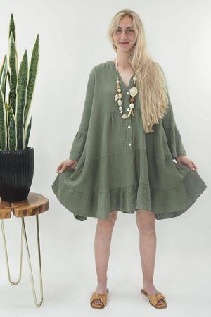 The Negril Smock Dress Khaki