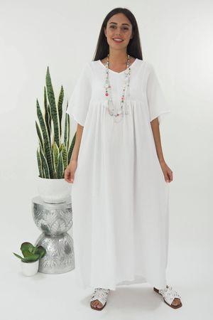 The Negril Smock Maxi Dress White