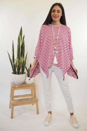 The Oversized Breton Zippi Hot Pink