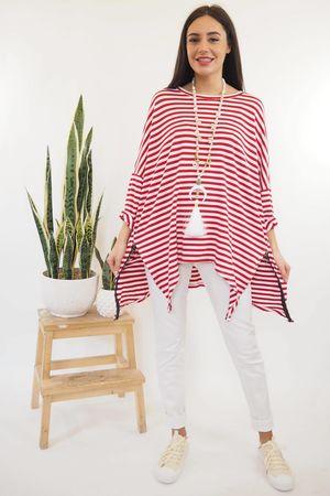 The Oversized Breton Zippi Red
