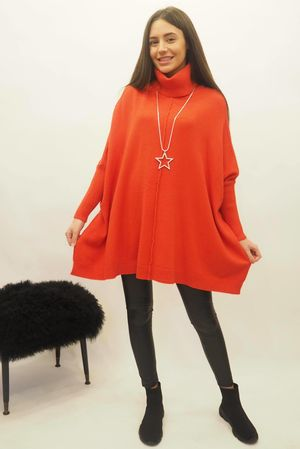 The Oversized Charli Seam Box Knit Red