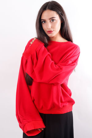 The Oversized Cut Edge Sweat Red
