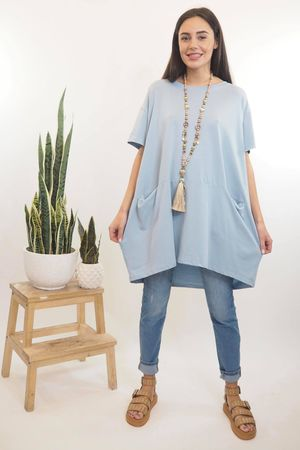 The Oversized La Boulle Summer Top Bluebell