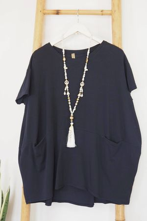 The Oversized La Boulle Summer Top Navy