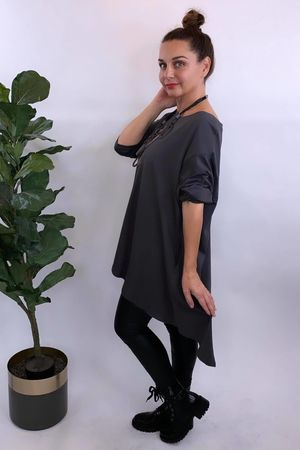 The Oversized Trapeze Top Graphite
