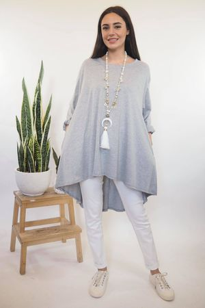 The Oversized Trapeze Top Grey Marl **