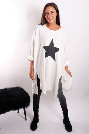 The Paint Star Longline Zippi Sweat Winter White