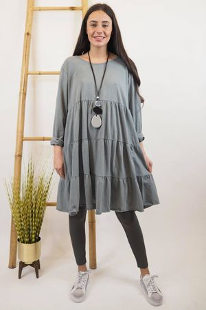 The Perfect Peasant Tee Dress Steel