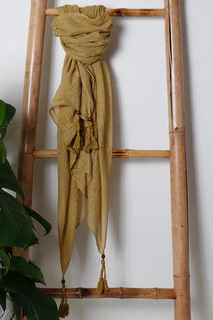 The Plain Beaded Tassel Scarf Mustard
