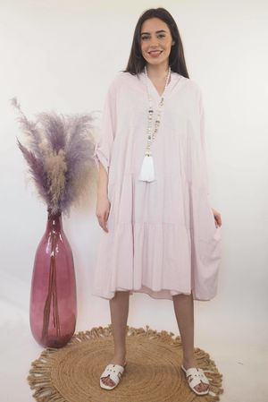 The Portinatx Pinstripe Smock Dress Blush