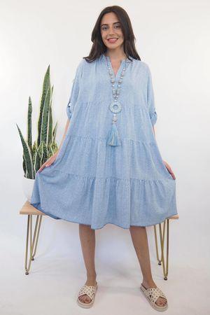 The Portinatx Pinstripe Smock Dress Denim /