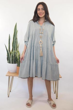 The Portinatx Pinstripe Smock Dress Khaki /