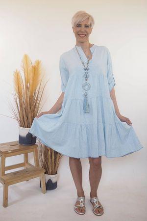 The Portinatx Pinstripe Smock Dress Powder Blue