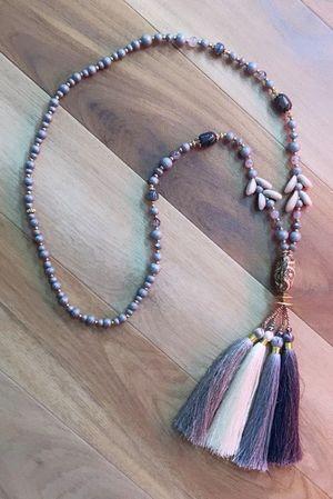 The Portinatx Tassel Necklace Greys