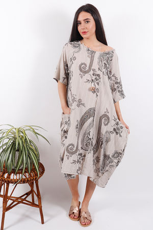 The Provence Paisley Dress Taupe