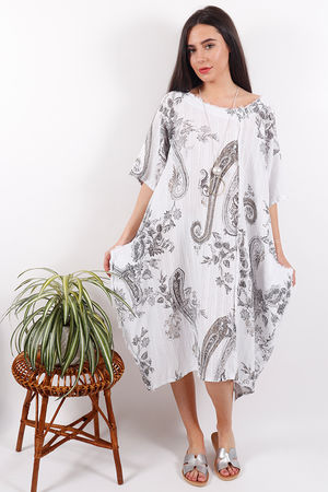 The Provence Paisley Dress White