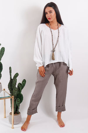 The Provence Peasant Top White