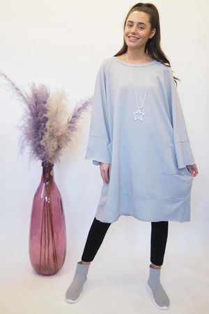 The Raw Edge Front Pocket Cocoon Dress Dove Grey