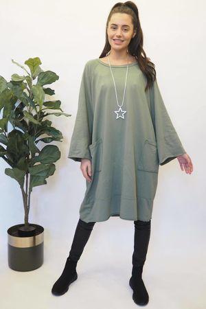 The Raw Edge Front Pocket Cocoon Dress Khaki