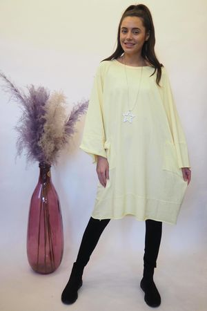 The Raw Edge Front Pocket Cocoon Dress Lemonade