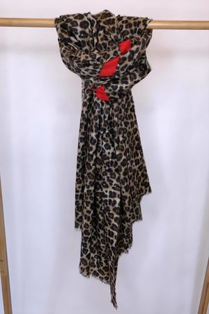 The Red Stripe Leopard Scarf