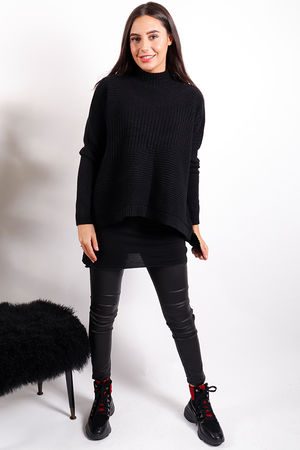 The Ribby Turtle Knit Black