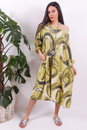 The Rio Swirl Dress Lime