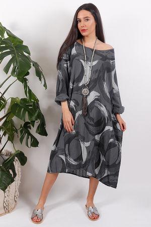 The Rio Swirl Dress Slate