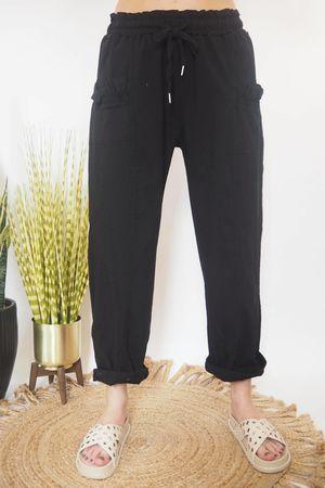 The Ruffle Pocket Magic Pant Black