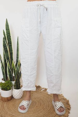 The Ruffle Pocket Magic Pant White