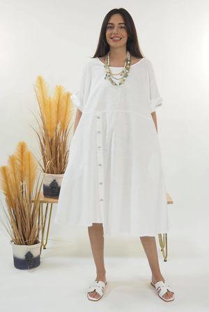 The Sahara Button Front Dress White