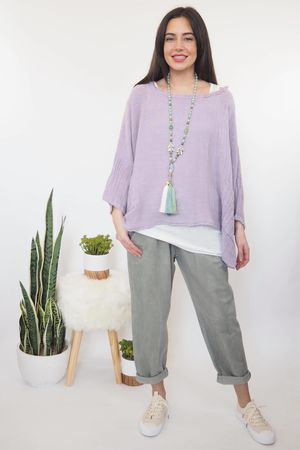 The Sahara Fray Pocket Top Washed Lilac