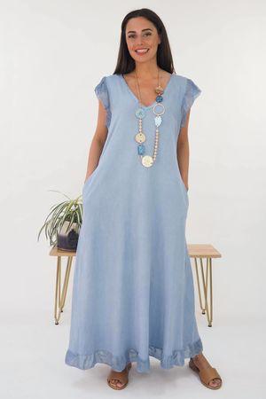 The Sahara Frill Maxi Dress Washed Denim