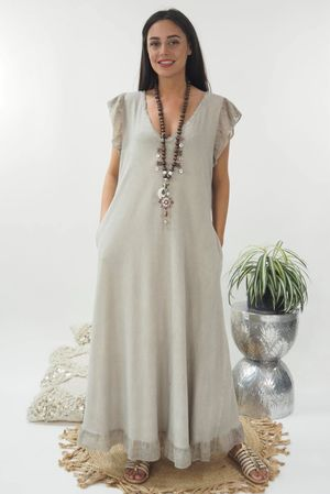 The Sahara Frill Maxi Dress Washed Mocha