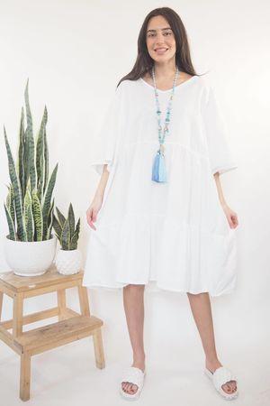 The Sahara Oversized Linen Smock Dress White