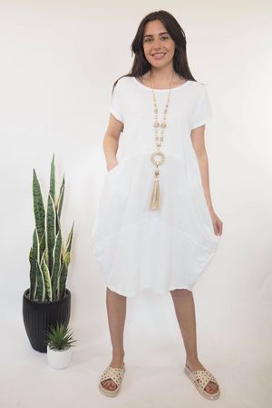The Sahara Panel Tee Dress White