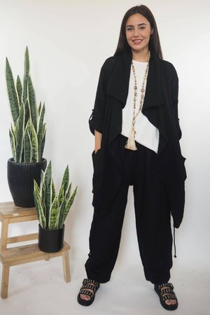 The Sahara Pull Tie Drape Jacket Black