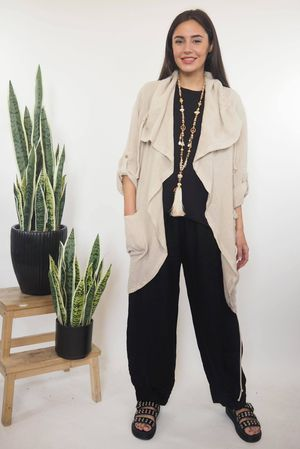 The Sahara Pull Tie Drape Jacket Stone