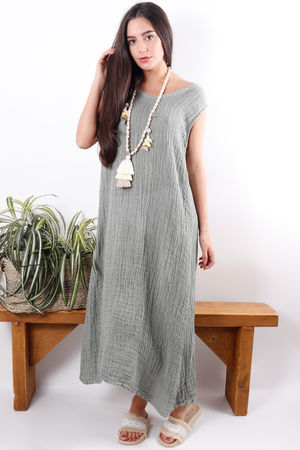 The Sahara Sleeveless Maxi Soft Khaki