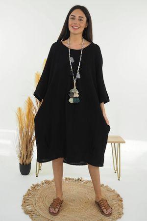 The Sahara Smock Cocoon Dress Black