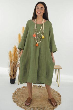 The Sahara Smock Cocoon Dress Khaki