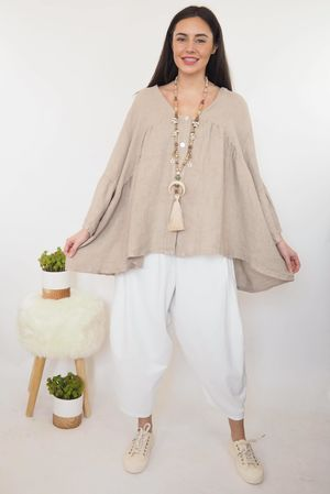 The Sahara Smock Top Washed Mocha