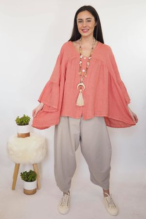 The Sahara Smock Top Washed Terracotta