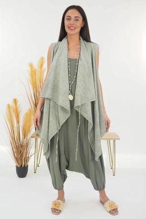 The Sahara Tie Gilet Washed Khaki