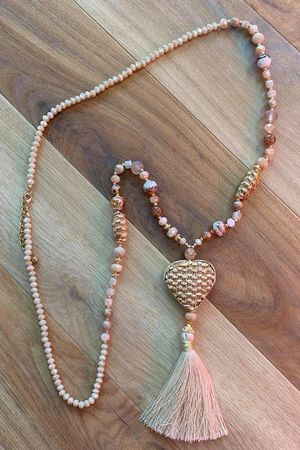 The Sala Heart Tassel Necklace Naturals