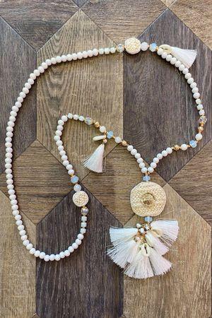 The Sardinia Tassel Necklace White